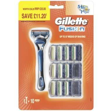 Gillette 81663530 Fusion Pack of 10 Blades with Razor