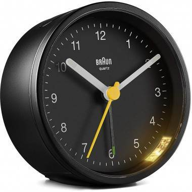 Braun BC12B Classic Analogue Round Black Alarm Clock