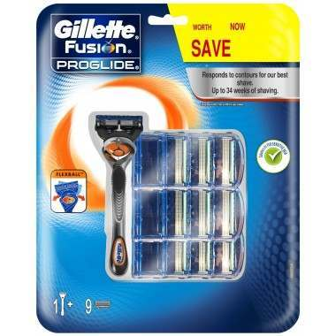 Gillette 81714434 Fusion Proglide Flexball Pack of 9 Blades with Razor