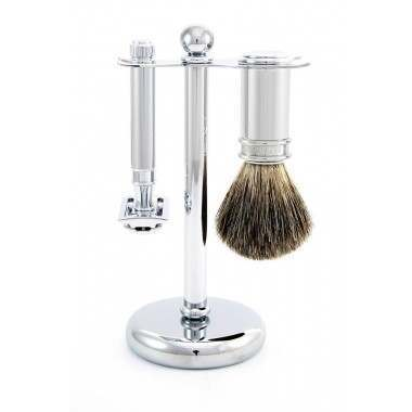 Edwin Jagger PPS-S81M8911 3 Piece Chrome Plated (Brush, Stand & DE Razor) Shaving Start Up Kit