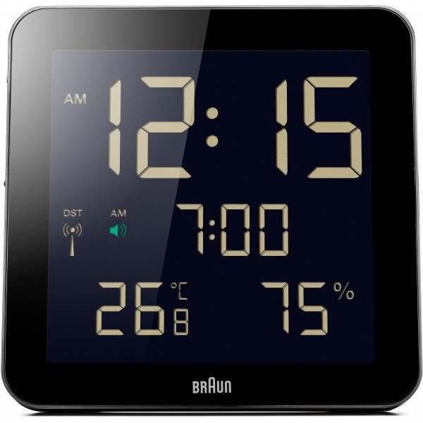 Braun BNC014 Black Global Radio Controlled Digital Wall Clock