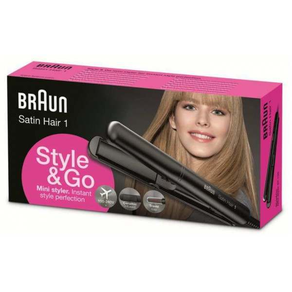 Braun St100 Satin Hair 1 Style Amp Go Mini Hair Straightener