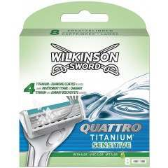 Wilkinson Sword TOWIL140 Quattro Titanium Sensitive Pack Of 8 Razor Blades