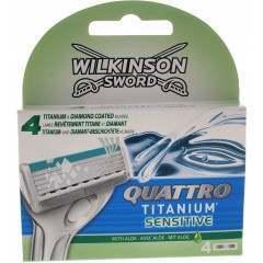 Wilkinson Sword TOWIL157 Quattro Titanium Sensitive Pack Of 4 Razor Blades