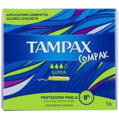 Tampax TOTAM107 Compak Super Pack Of 16 Tampons