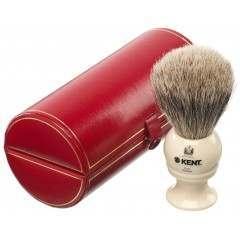 Kent BK4 Imitation Ivory Medium/Travel-sized Pure Grey Badger Shaving Brush