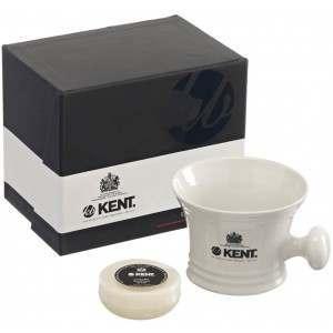 Kent SM WHT White Porcelain Shaving Mug