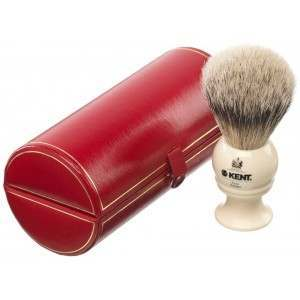 Kent BK2 Imitation Ivory Medium Pure Grey Badger Shaving Brush