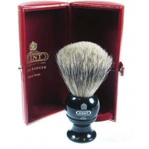 Kent BLK2 Black Medium Pure Grey Badger Shaving Brush