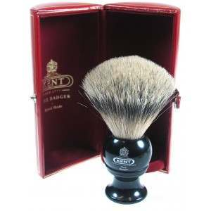 Kent BLK4 Black Medium/Travel-sized Pure Grey Badger Shaving Brush