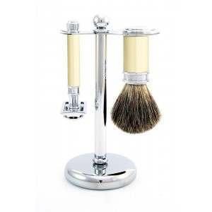 Edwin Jagger PPS-S81M8711 3 Piece Imitation Ivory (Brush, Stand & DE Razor) Shaving Start Up Kit